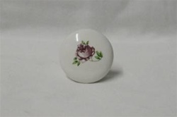 "PORCELAIN KNOB 1-1/4"" WHITE WITH ROSE"